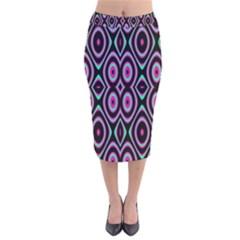 Colorful Seamless Pattern Vibrant Pattern Velvet Midi Pencil Skirt by Simbadda