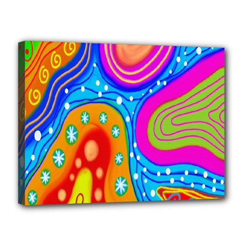 Hand Painted Digital Doodle Abstract Pattern Canvas 16  X 12  by Simbadda