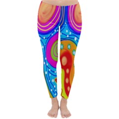 Hand Painted Digital Doodle Abstract Pattern Classic Winter Leggings by Simbadda