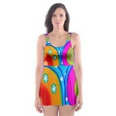 Hand Painted Digital Doodle Abstract Pattern Skater Dress Swimsuit by Simbadda