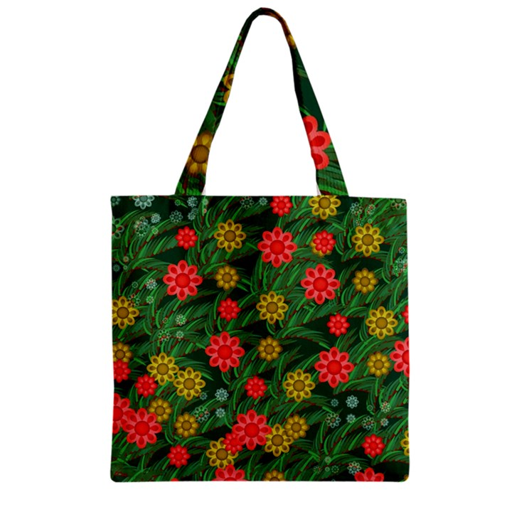 Completely Seamless Tile With Flower Zipper Grocery Tote Bag