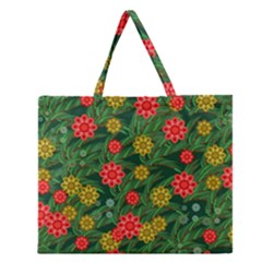 Completely Seamless Tile With Flower Zipper Large Tote Bag by Simbadda