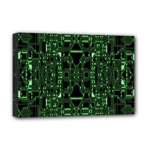 An Overly Large Geometric Representation Of A Circuit Board Deluxe Canvas 18  X 12   by Simbadda