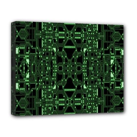 An Overly Large Geometric Representation Of A Circuit Board Deluxe Canvas 20  X 16   by Simbadda