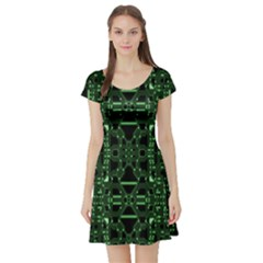 An Overly Large Geometric Representation Of A Circuit Board Short Sleeve Skater Dress