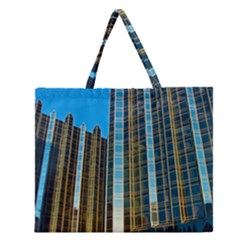 Two Abstract Architectural Patterns Zipper Large Tote Bag by Simbadda