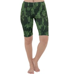 Camouflage Green Army Texture Cropped Leggings  by Simbadda