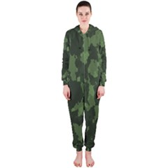 Camouflage Green Army Texture Hooded Jumpsuit (ladies)