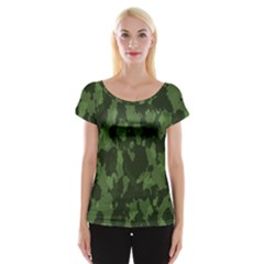 Camouflage Green Army Texture Women s Cap Sleeve Top by Simbadda