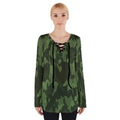Camouflage Green Army Texture Women s Tie Up Tee by Simbadda