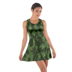 Camouflage Green Army Texture Cotton Racerback Dress by Simbadda