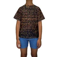 Pixel Pattern Colorful And Glowing Pixelated Kids  Short Sleeve Swimwear