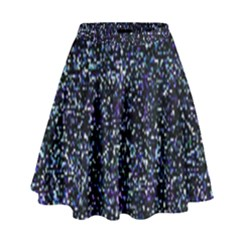Pixel Colorful And Glowing Pixelated Pattern High Waist Skirt by Simbadda