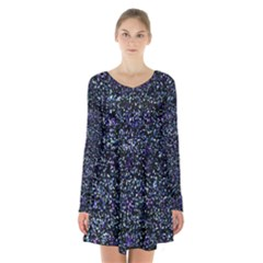 Pixel Colorful And Glowing Pixelated Pattern Long Sleeve Velvet V Neck Dress by Simbadda