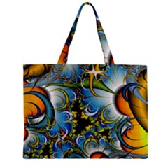 Fractal Background With Abstract Streak Shape Zipper Mini Tote Bag by Simbadda