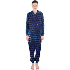 Vibrant Pattern Colorful Seamless Pattern Hooded Jumpsuit (Ladies)