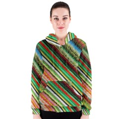 Colorful Stripe Extrude Background Women s Zipper Hoodie