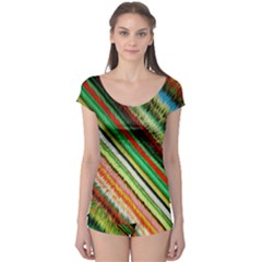 Colorful Stripe Extrude Background Boyleg Leotard