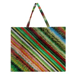 Colorful Stripe Extrude Background Zipper Large Tote Bag by Simbadda