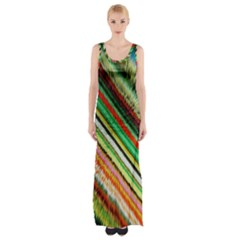 Colorful Stripe Extrude Background Maxi Thigh Split Dress