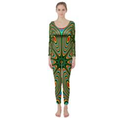Vibrant Seamless Pattern  Colorful Long Sleeve Catsuit by Simbadda