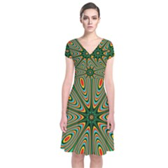 Vibrant Seamless Pattern  Colorful Short Sleeve Front Wrap Dress