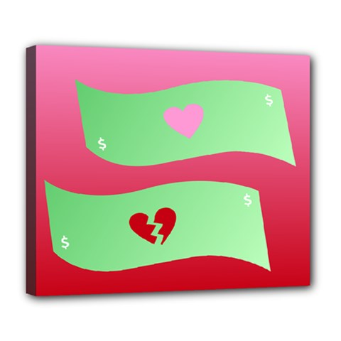 Money Green Pink Red Broken Heart Dollar Sign Deluxe Canvas 24  X 20   by Alisyart