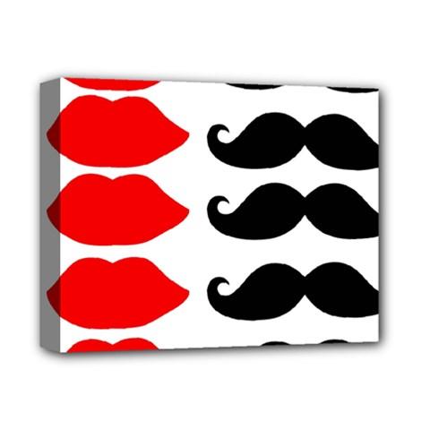 Mustache Black Red Lips Deluxe Canvas 14  X 11  by Alisyart