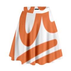 Number 100 Orange High Waist Skirt by Alisyart
