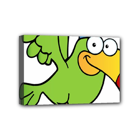 Parrot Cartoon Character Flying Mini Canvas 6  X 4  by Alisyart