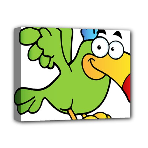 Parrot Cartoon Character Flying Deluxe Canvas 14  X 11  by Alisyart