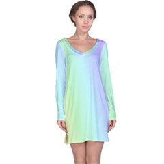 Multi Color Pastel Background Long Sleeve Nightdress
