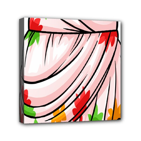 Petal Pattern Dress Flower Mini Canvas 6  X 6  by Alisyart