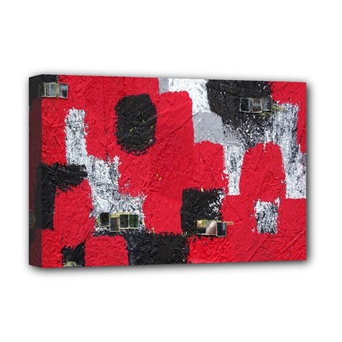 Red Black Gray Background Deluxe Canvas 18  X 12   by Simbadda