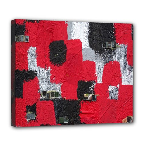 Red Black Gray Background Deluxe Canvas 24  X 20   by Simbadda