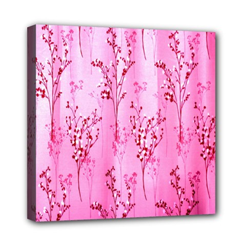 Pink Curtains Background Mini Canvas 8  X 8  by Simbadda