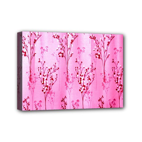 Pink Curtains Background Mini Canvas 7  X 5  by Simbadda