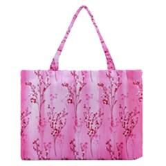Pink Curtains Background Medium Zipper Tote Bag by Simbadda