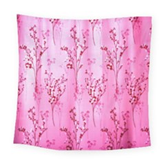 Pink Curtains Background Square Tapestry (large) by Simbadda