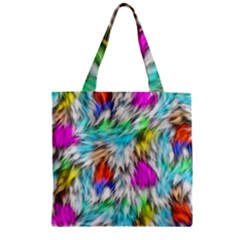 Fur Fabric Zipper Grocery Tote Bag by Simbadda