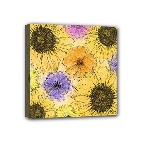 Multi Flower Line Drawing Mini Canvas 4  X 4  by Simbadda