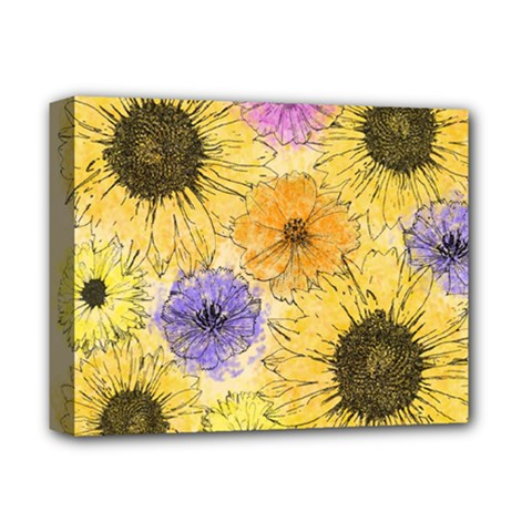 Multi Flower Line Drawing Deluxe Canvas 14  X 11  by Simbadda