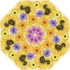 Multi Flower Line Drawing Golf Umbrellas by Simbadda