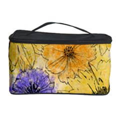 Multi Flower Line Drawing Cosmetic Storage Case by Simbadda