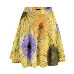 Multi Flower Line Drawing High Waist Skirt by Simbadda