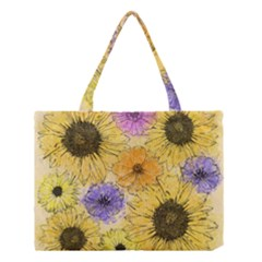 Multi Flower Line Drawing Medium Tote Bag by Simbadda