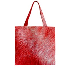 Pink Fur Background Zipper Grocery Tote Bag by Simbadda