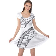 Feather Line Art Cap Sleeve Dresses