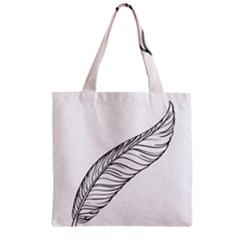 Feather Line Art Zipper Grocery Tote Bag by Simbadda