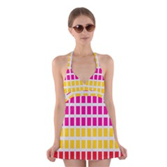 Squares Pattern Background Colorful Squares Wallpaper Halter Swimsuit Dress by Simbadda